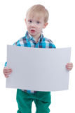 Cute little boy with blank poste Royalty Free Stock Image
