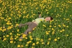 Cute little boy blowing on dandelions on meadow Stock Photo