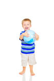 Cute little boy with blue ball Stock Images