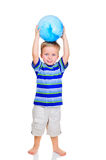 Cute little boy with blue ball Royalty Free Stock Image