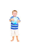 Cute little boy with blue ball Royalty Free Stock Photography