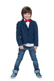 Cute little boy in a blue jacket Royalty Free Stock Photos