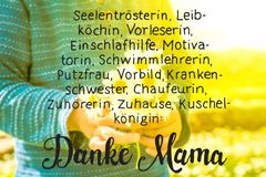 Cute Little Boy, Bouquet Daisy, Calligraphy Danke Mama Means Thank You Mom royalty free stock photo