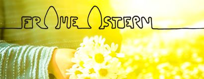Cute Little Boy, Bouquet Daisy, Calligraphy Frohe Ostern Means Happy Easter stock photo