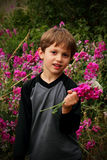 Cute little boy with a bouquet of flowers. A cute little boy holding a pretty bouquet of pink wild flowers.  Shallow depth of field. Copy space Stock Photos