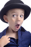 Cute little boy with bowler hat making faces Royalty Free Stock Photos