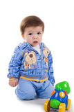 Cute little boy with bright toy Royalty Free Stock Photo