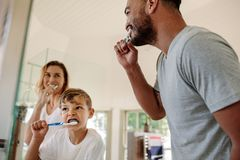 Family brushing teeth together in bathroom. Cute little boy brushing teeth with his father and mother in bathroom. Young family brushing teeth together in royalty free stock photos