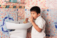 Cute Little Boy Brushing Teeth Stock Images