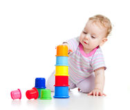 Cute little boy building tower Stock Images
