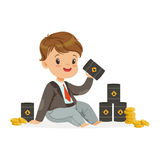 Cute little boy businessman sitting surrounded by stacks of gold coins and barrels of oil, kids financial business. Vector Illustration isolated on a white Stock Photography