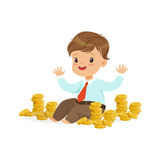Cute little boy businessman sitting surrounded by stacks of gold coins, kids savings and finance, richness of childhood. Vector Illustration isolated on a white Royalty Free Stock Images
