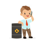 Cute little boy businessman talking on smartphone standing next to a barrel of oil, vector Illustration Royalty Free Stock Photography