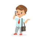 Cute little boy businessman talking on smartphone, vector Illustration Stock Image