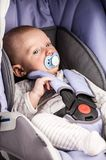 Cute little boy in car seat Stock Photos