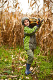 Cute little boy carrying a big pumpkin Royalty Free Stock Images