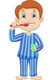 Cute little boy cartoon brushing teeth stock illustration