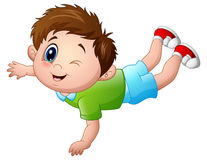 Cute little boy cartoon prone. Vector illustration of Cute little boy cartoon prone Stock Images