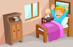 Cute little boy cartoon wake up in the bedroom Royalty Free Stock Photos