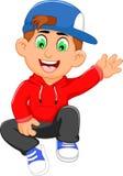 Cute little boy cartoon waving Royalty Free Stock Photo