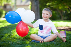 Cute little boy celebrating Independence Day royalty free stock photography