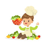 Cute little boy chef cooking fresh vegetables, kids healthy food concept colorful vector Illustration royalty free illustration