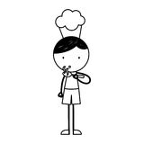 Cute little boy with chef hat character. Vector illustration design Stock Image