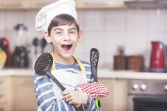 Happy little boy chef royalty free stock photo