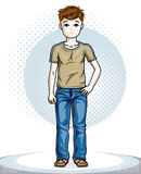 Cute little boy child standing wearing fashionable casual clothe. S. Vector attractive kid illustration. Fashion theme clipart Stock Photo