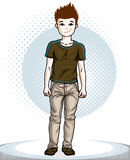 Cute little boy child standing wearing fashionable casual clothe. S. Vector beautiful human illustration. Childhood lifestyle clip art Stock Photo