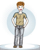 Cute little boy child standing wearing fashionable casual clothe. S. Vector human illustration. Childhood lifestyle cartoon Royalty Free Stock Photos