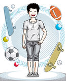 Cute little boy child standing wearing fashionable casual clothe. S. Vector human illustration. Fashion and lifestyle theme cartoon Stock Photos