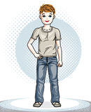 Cute little boy child standing wearing fashionable casual clothe. S. Vector kid illustration. Fashion and lifestyle theme cartoon Royalty Free Stock Photos