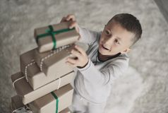 Cute little boy during Christmas royalty free stock photos