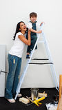 Cute little boy climbing a ladder Royalty Free Stock Photos