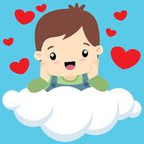 Cute little boy on cloud valentine card vector. Cute little boy in Love sitting on a cloud head reclining in hands, surrounded by hearts. Suitable for Valentines stock illustration