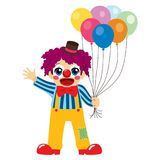 Clown With Balloons. Cute little boy clown holding colorful balloons waving hand and happy face expression Stock Image
