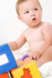 Cute little boy with cubes toy Royalty Free Stock Photos