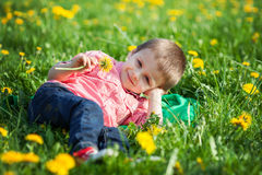 Cute little boy in a dandelion field Royalty Free Stock Photos