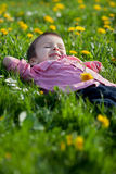 Cute little boy in a dandelion field Royalty Free Stock Images