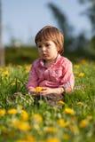 Cute little boy in a dandelion field, having fun Stock Images