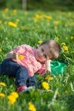 Cute little boy in a dandelion field, having fun Royalty Free Stock Photos
