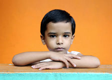 Cute Little Boy. Depressed Indian Little Boy with Expression Stock Photos