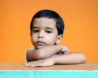 Cute Little Boy. Depressed Indian Little Boy with Expression Royalty Free Stock Photo