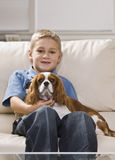 Cute Little Boy with Dog Royalty Free Stock Images