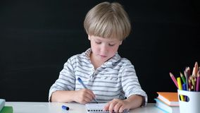 Cute little boy drawing at the table. Child from elementary school. Education concept. Back to school. stock footage