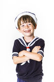 Cute little boy dressed in sailor suit Royalty Free Stock Image