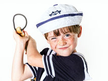 Cute little boy dressed in sailor suit Royalty Free Stock Photos