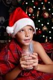 Cute little boy drinking milk Stock Photos