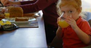 Cute little boy drinking orange juice at dining table 4k. Cute little boy drinking orange juice at dining table. Looking at camera while drinking 4k stock video footage